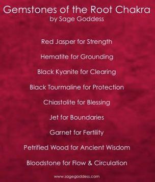 Gems of the Root Chakra by Sage Goddess crystal healing gemstone magic: