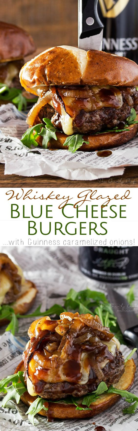 "Whiskey Glazed Blue Cheese Burgers with Guinness Caramelized Onions Recipe via The Chunky Chef  ""These blue cheese burgers are brushed with a homemade whiskey glazed, topped with Irish cheese, and smothered in Guinness caramelized onions!"""