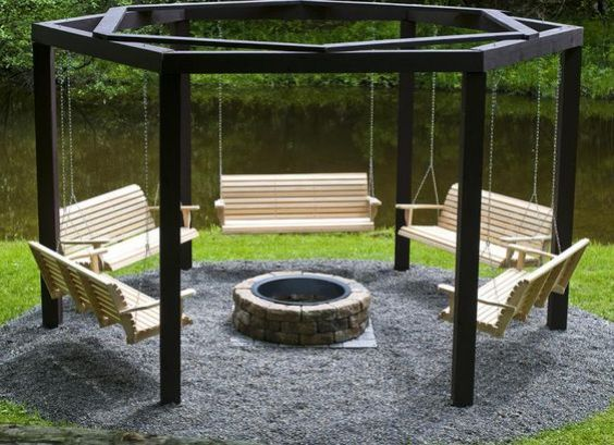 DIY Fire Pit and Hanging Swings for Outdoor Seating