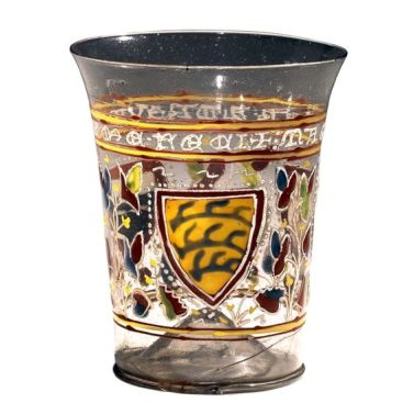 c 1330 AD, Venice  The Aldrevandini beaker is a uniquely well-preserved example from a group of glass vessels produced in Venice at the end of the thirteenth and the beginning of the fourteenth century.:
