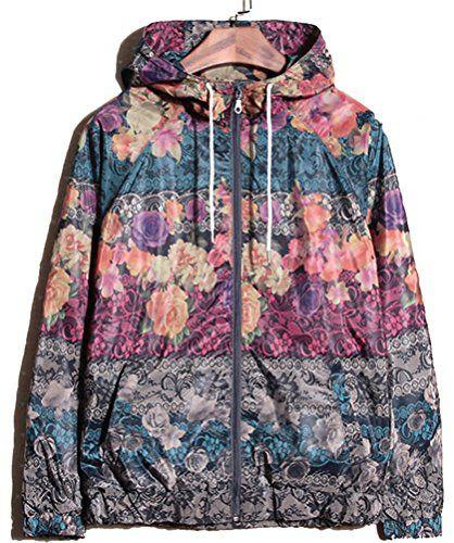 Allonly Men's Long Sleeve Floral Printed Hooded Windbreak…: