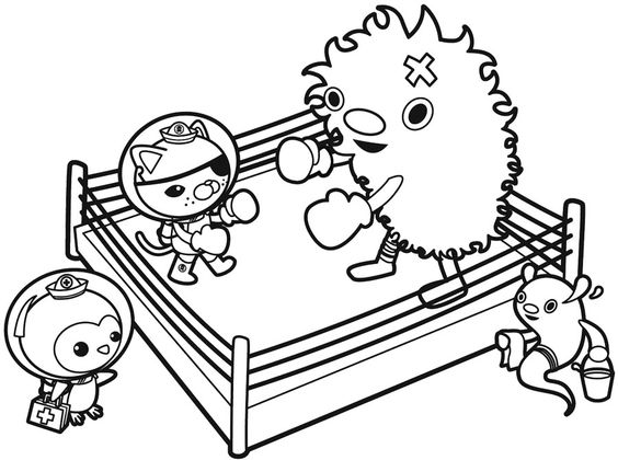 boxing match in the ring coloring for kids  colouring in