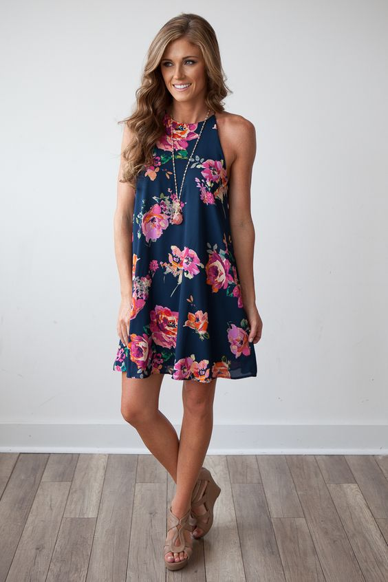 Bloom Where You Are Planted Shift Dress - Navy: