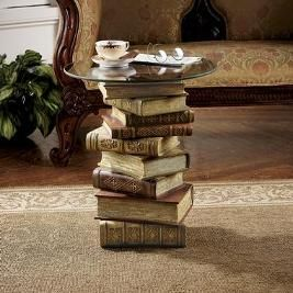 Glued books together with a cookie sheet=book end table. Very cute next to the reading chair I need. :):