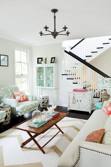 Coastal Living Rooms White with Mint and Coral Accents Cute Living Room Area Interior Design