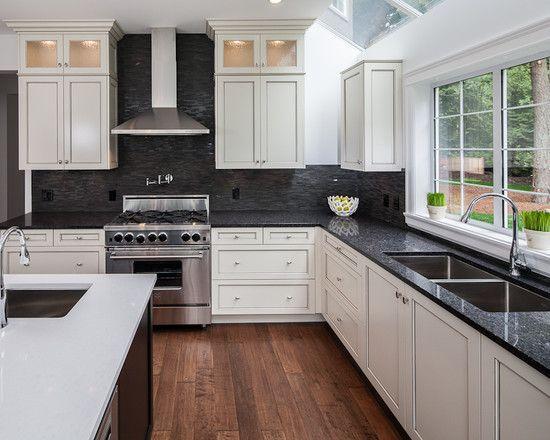 White Hanging Cabinet finish Patterned Black Granite ... on Backsplash Ideas For White Cabinets And Black Granite Countertops  id=36994