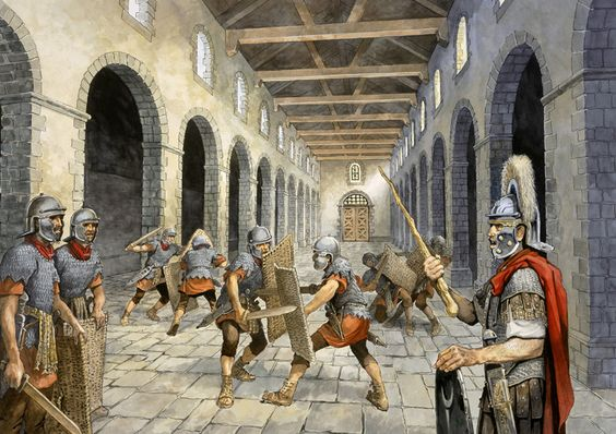 Birdoswald Fort, Hadrian's Wall - Roman auxiliary infantry practising combat in the Drill Hall:
