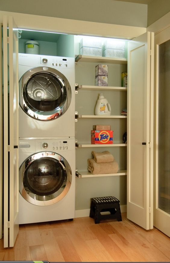 10 Awesome Ideas for Tiny Laundry Spaces   Small half ... on Small Space Small Bathroom Ideas With Washing Machine id=11411