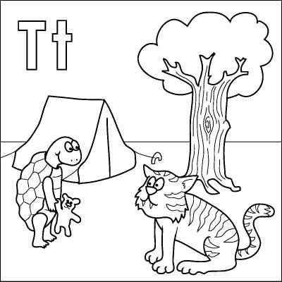 Letter T coloring page (Tortoise, Tiger, Teddy, Tent, Tree ...