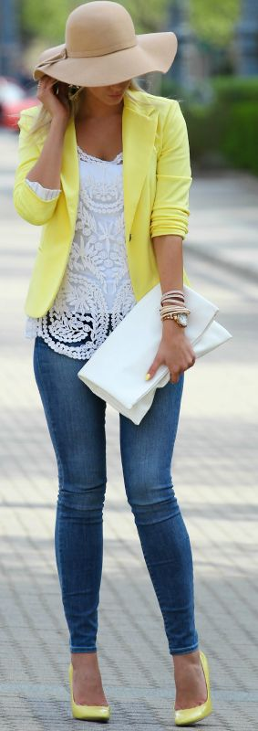 I like this idea for my crochet top, but how about a different color blazer?: