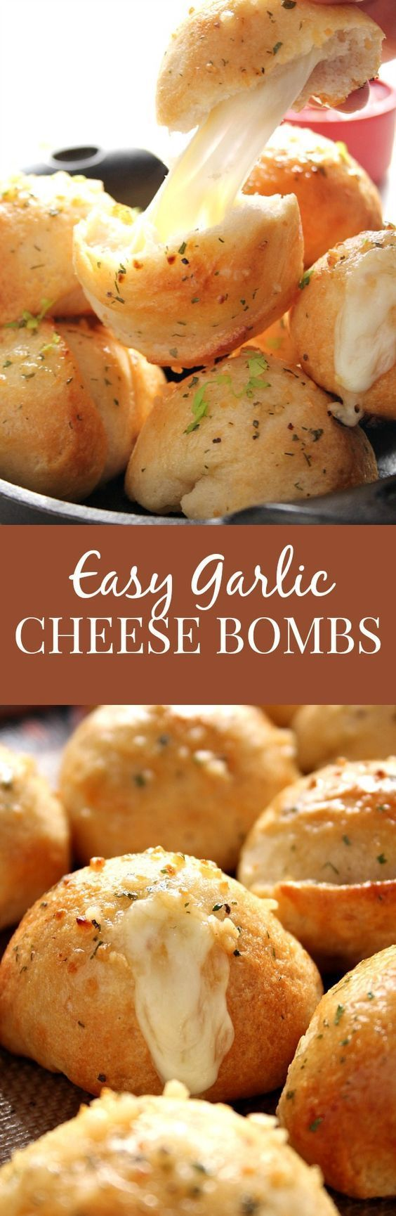 """Easy Garlic Cheese Bombs Recipe via Crunchy Creamy Sweet - biscuit bombs filled with gooey mozzarella, brushed with garlic Ranch butter and baked into perfection. Easy, fast and absolutely addicting!"" The Best Homemade Biscuits Recipes - Quick, Easy and Delicious Bread Sides for Breakfast, Brunch, Lunch and Family Dinner!"