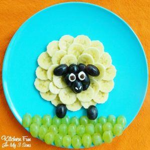 animales de fruta, obeja de platano comida divertida