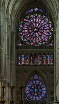 Roses, nave of Reims Cathedral.: