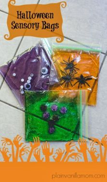 Halloween Sensory Bags! Infants and toddlers will have so much fun moving the shapes around in the bag! http://plainvanillamom.com/2013/10/halloween-sensory-bags.html: