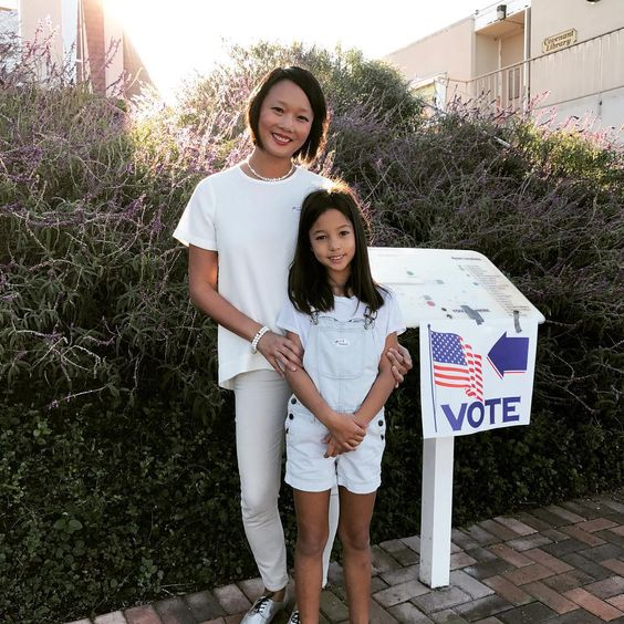 Let's make history today. I shed a tear when I explained how important today is to my daughter. Let's do this. 💙💙💙 #imwithher #hillz #hillzyeah #wearwhitetovote #pantsuitnation #thefutureisfemale #whentheygolowwegohigh #girlpower @hillaryclinton @pantsuitnation: