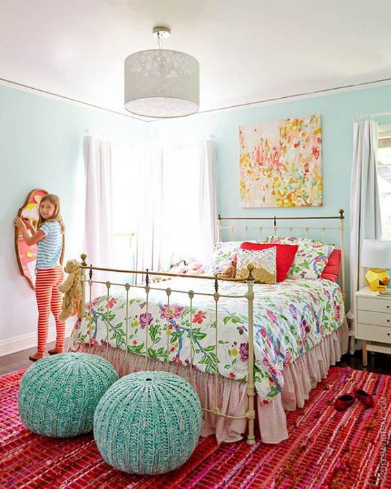 My 10 Go-To Paint Colors - Color scheme for bedroom: aqua, red, white, with hits of gold, pink, green. Wall color is Quartz Stone by Benjamin moore.: