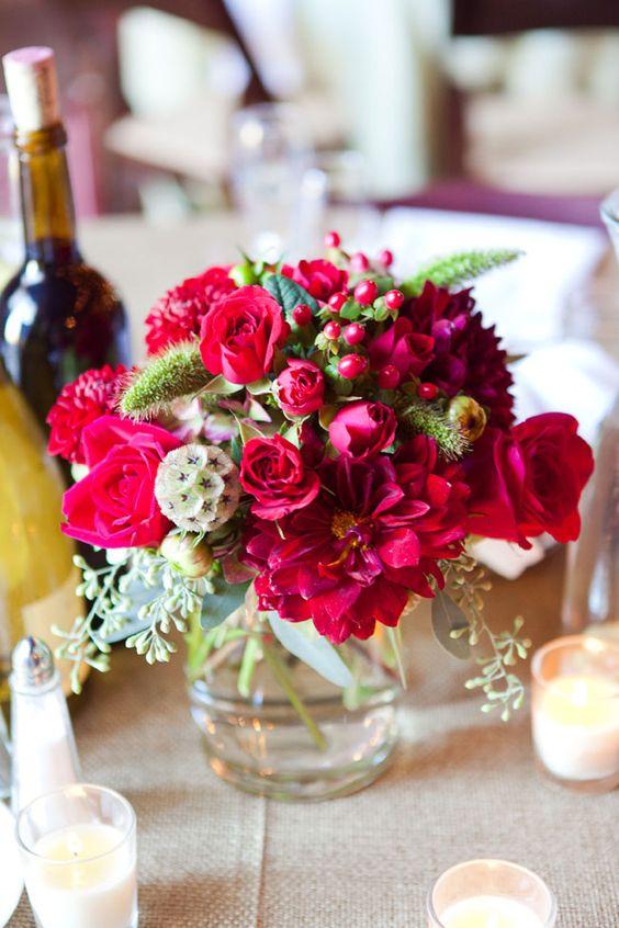 Burgundy Wedding Flowers Centerpiece Rustic Fall Wedding