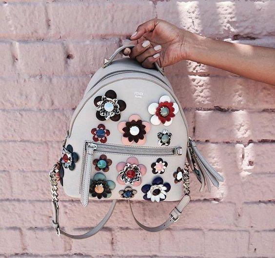 Fendi floral embellished grey backpack: