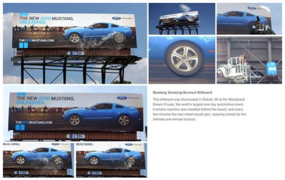 outdoor ads-Mustang billboard uses smoke machine to show the power of the newly launched model-www.ifiweremarketing.com