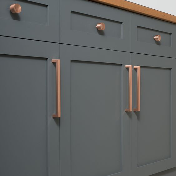 copper gray cabinets and solid brass on pinterest on kitchen cabinets knobs id=57144