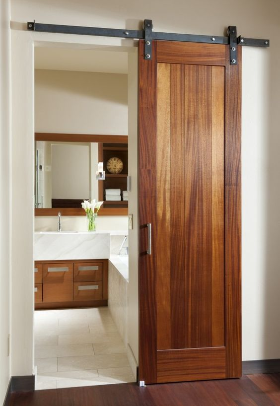 Nice alternative to a pocket door. Much easier than moving electricity and tearing into a wall.: