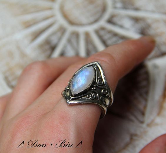 Moonstone Ring Sterling Silver Marquise Shaped Moonstone