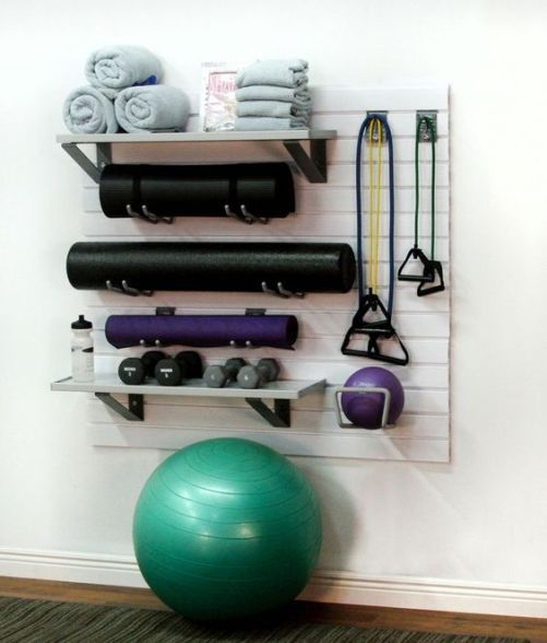perfect storage for yoga mats, towels, weights and bands