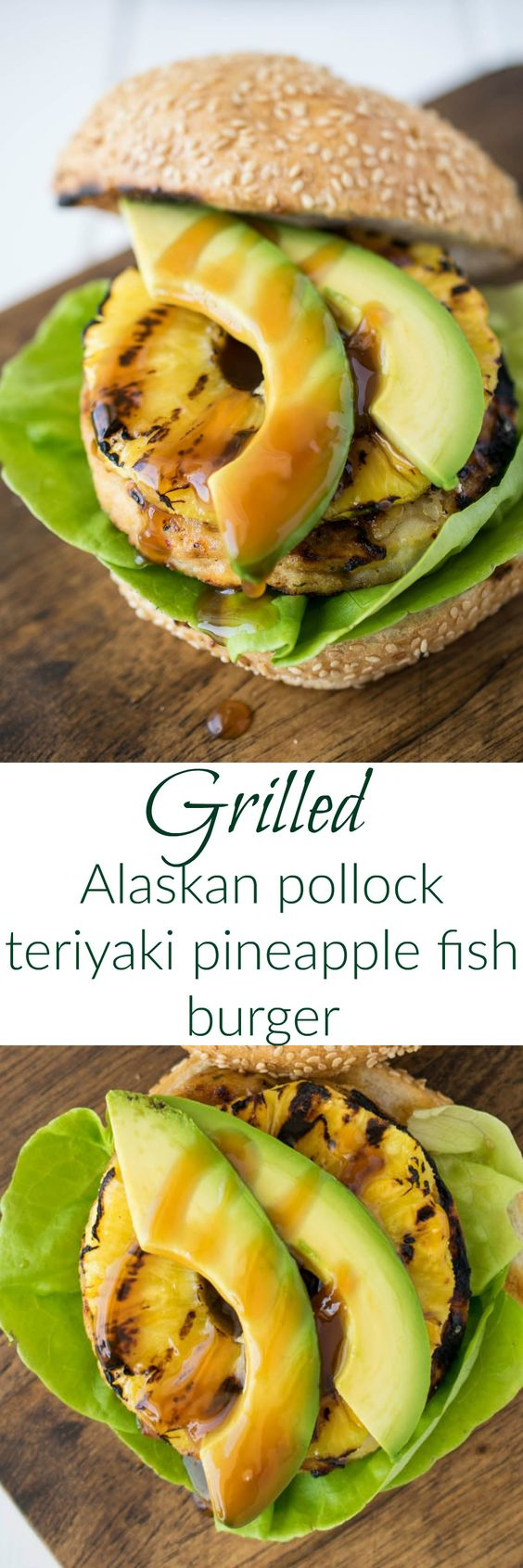 Grilled Alaskan pollock teriyaki pineapple fish burger is white fish burger with homemade teriyaki sauce topped with sweet grilled pineapple and sliced avocado is burger deliciousness without the guilt. #Swapyourburger #ad @tridentseafoods: