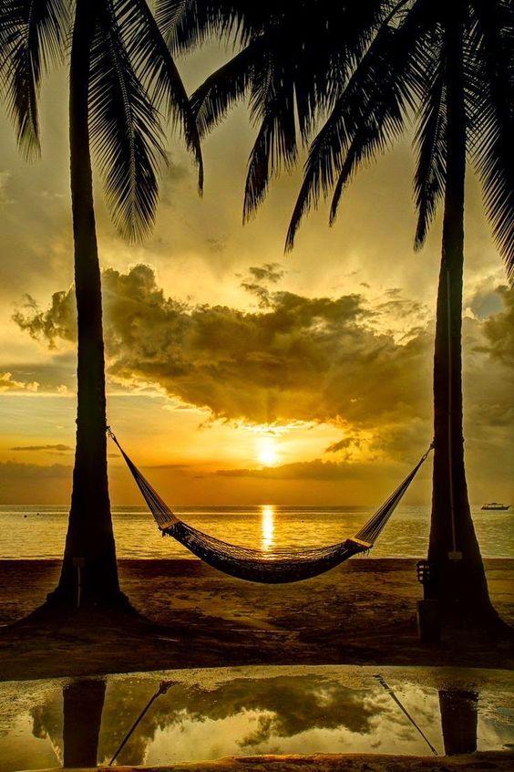 A Jamaican Sunset - Beautiful colors, a hammock..: