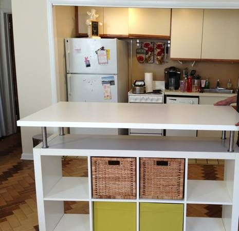 ikea hack an expedit bookcase was used to create this funky kitchen island diy pinterest on kitchen island ideas diy ikea hacks id=54898