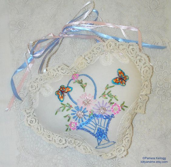 Valentine Decor Hanging Heart Pillow Vintage Embroidery Beaded Embellished Lace Heart