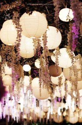 Hanging Lanterns and wisteria creates an elegant, romantic ambiance #ceilingdecor #mynoahs: