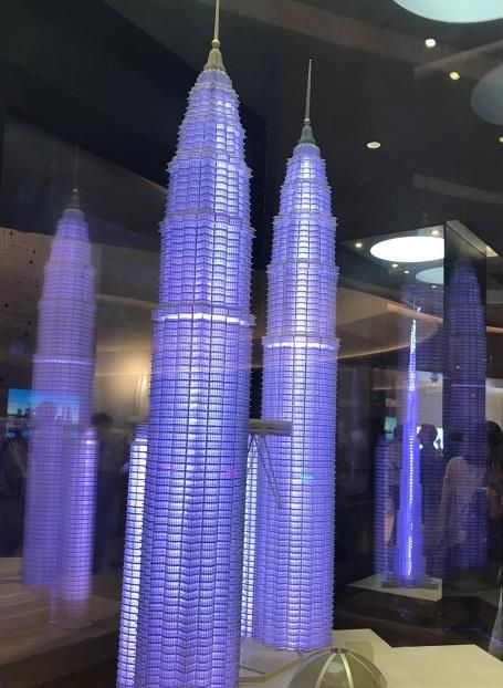 A model of Petronas Towers, which were once the tallest buildings in the world
