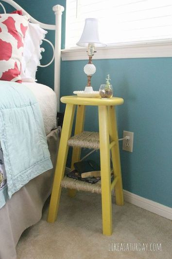 Designing on a Budget Like a Saturday DIY Nightstand Side Table from Barstool