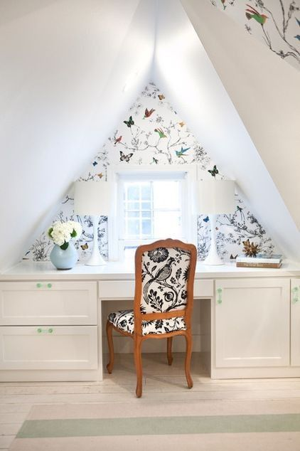 25 Dreamy Attic Bedrooms. Messagenote.com Schumacher s Birds and Butterfies wallpaper adds a touch of whimsy to this attic workspace.:
