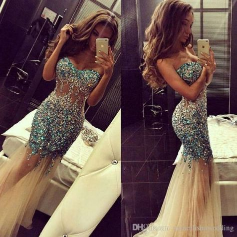Jewels and sparkles are perfect for mermaid prom dresses!