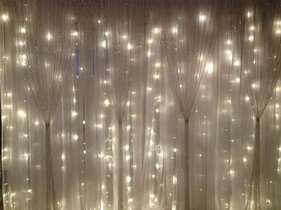White Fabric String Lights Sparkle Curtains Wedding Decor Pinterest Diy Headboards