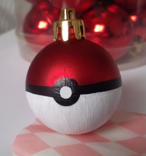 Find Pokeballs in your Christmas tree!!! DIY Christmas hand-painted ornaments are easy to make with these instructions from Arisu Crafts.