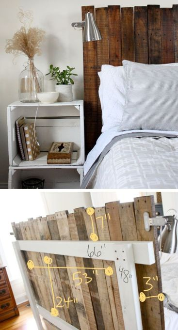 Stained Pallet Headboard