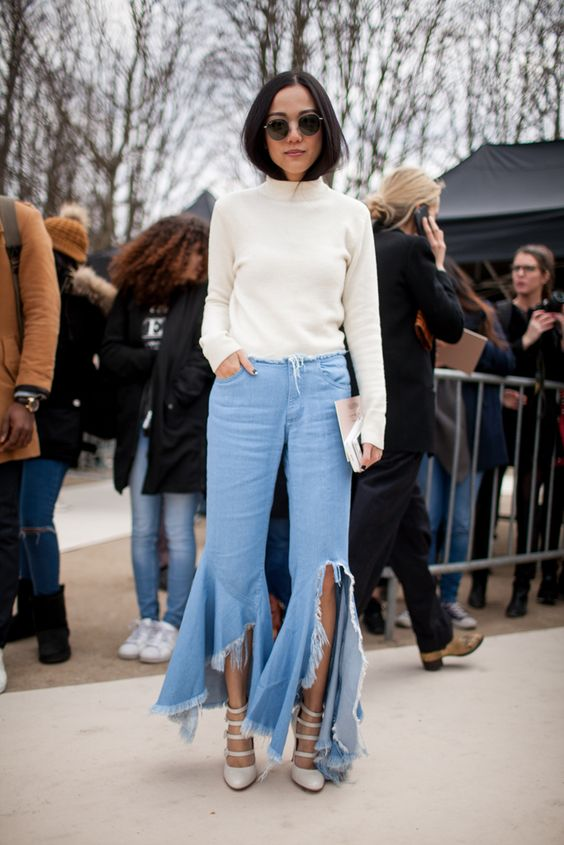 Paris Fashion Week Fall 2016 street style | White sweater + destroyed denim + heels #PFW [Photo: Kuba Dabrowski]: