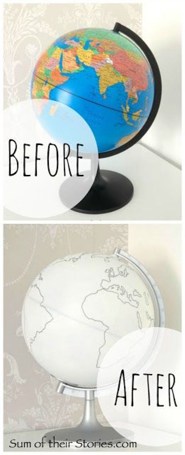 White and Silver globe makeover:
