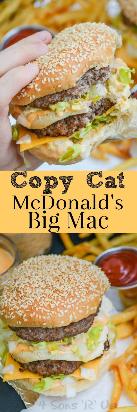 "Copycat McDonald's BIG MAC hamburger Recipe via 4 Sons ""R"" Us ""Get an authentic taste of your favorite fast food burger with this Copy Cat McDonald's Big Mac. It's got everything you crave about the classic double decker sandwich, including the 'secret sauce', that's a spot on replica. Serve it with an ice cold coke, and crispy french fries for an authentic lunch or dinner."""