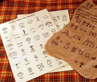 """Pioneer activity: Write with Indian symbols/pictographs and celebrate diversity. Draw on brown paper """"pelts"""". A 72 character guide is available to download on Etsy:"""