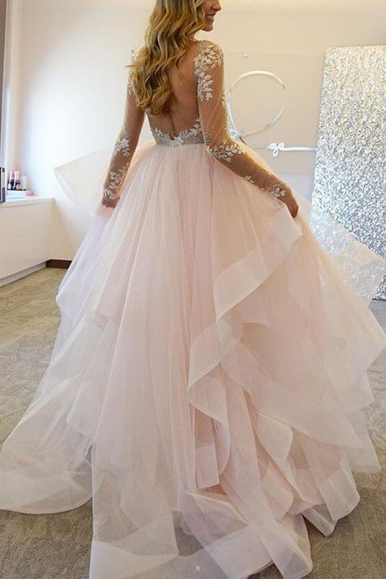 Elegant A-Line Long Sleeves Tulle Wedding Dresses With Appliques WD036 More: www.coniefoxdress.com: