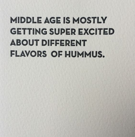 Front: middle age is mostly getting super excited about different flavors of hummus Inside: Blank sapling press cards are printed on tree free cotton paper and paired with a 100% post consumer brown b:
