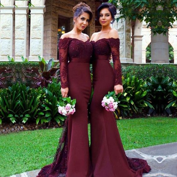Sexy Burgundy Mermaid Long Sleeve Lace Long Bridesmaid Dresses with Small Train for Mother of Bride, WG153: