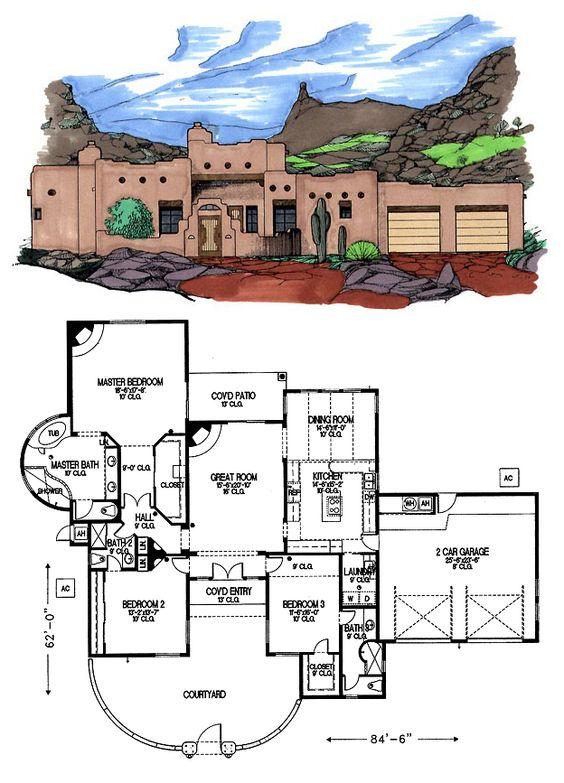 Santa Fe Southwest House Plan 54618 | Front courtyard ...