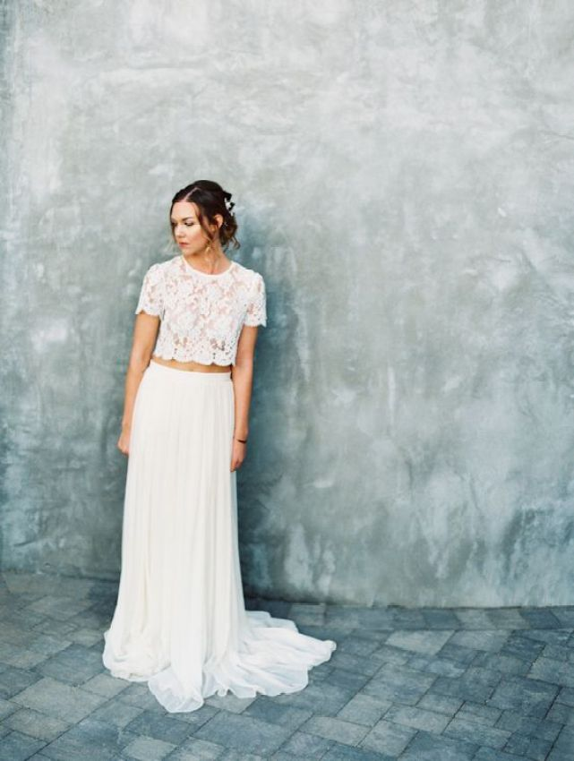 Stylish cropped two piece wedding dress: Photography : Mirelle Carmichael Photography Read More on SMP: http://www.stylemepretty.com/little-black-book-blog/2016/05/05/cropped-top-two-piece-new-spring-style-crush/: