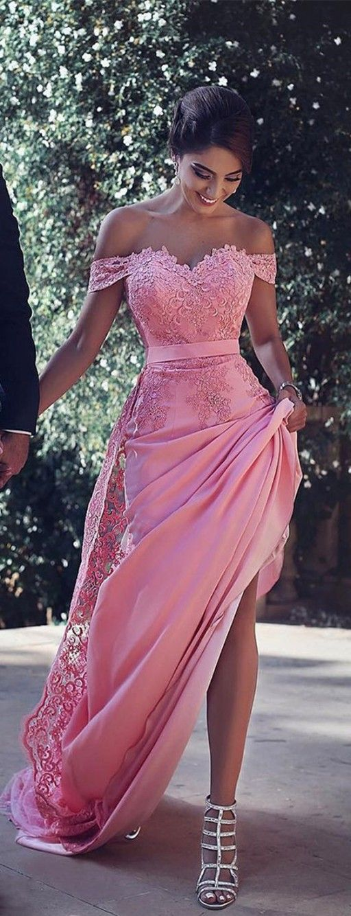 2017 Gorgeous Off the Shoulder Lace Appliques Prom Dress with Side Split,Sexy Pink Evening Dress for Women: