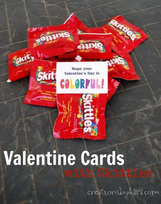 Printable Valentine Cards With Skittles Great For